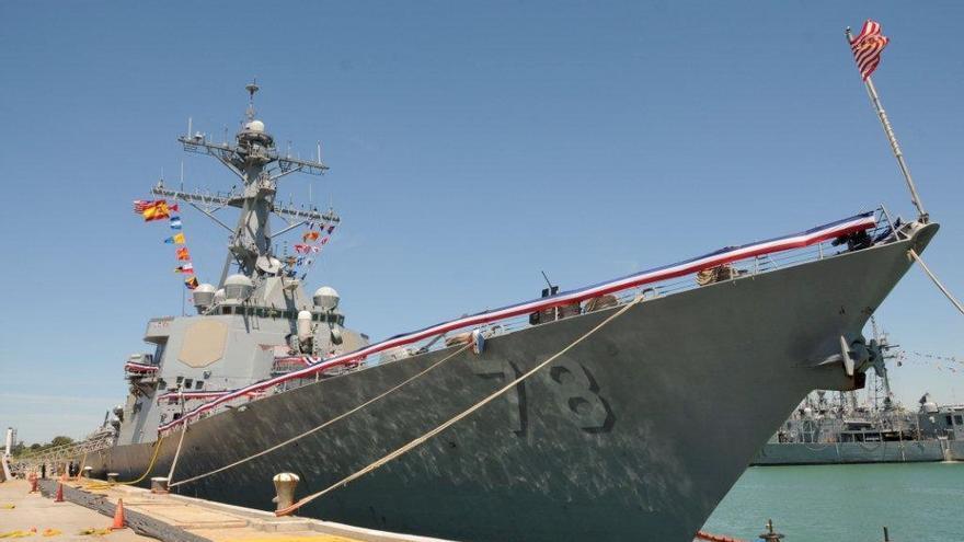 Imagen del destructor USS Porter a su llegada a la base de Rota, en abril de 2015.