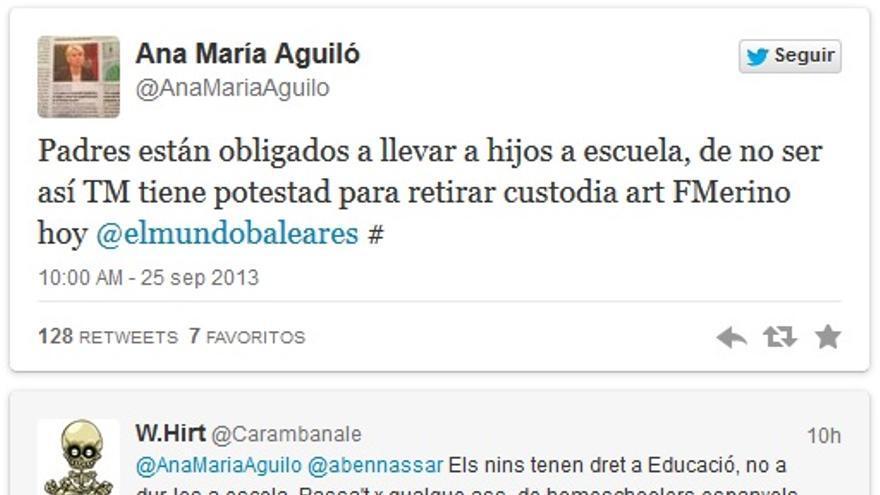 Captura de los tuits de la diputada balear Ana María Aguiló  / @AnaMariaAguilo