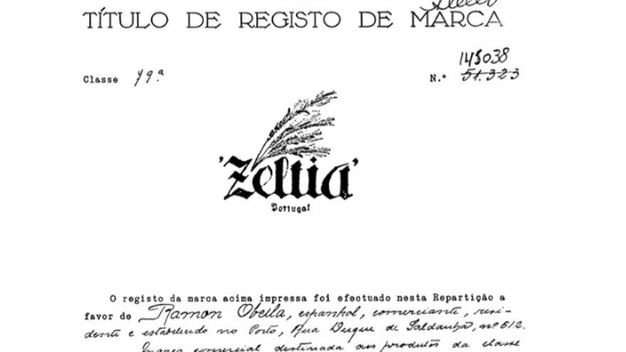 Obella Vidal registró el nombre Zeltia en Portugal en 1937. Imagen del libro 'Obella Vidal, investigador, empresario e galeguista' (Ricardo Gurriarán, Foro Enrique Peinador, 2009)