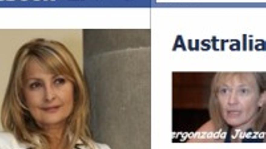 Australia en Facebook, donde una fanática le puso una foto de la juez Rosell con un insulto.