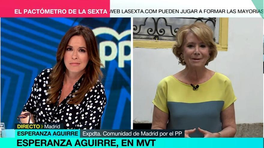 """El momento incómodo de Mamen Mendizabal al preguntar a Esperanza Aguirre sobre su perro Pecas: """"Le atropellaron"""""""