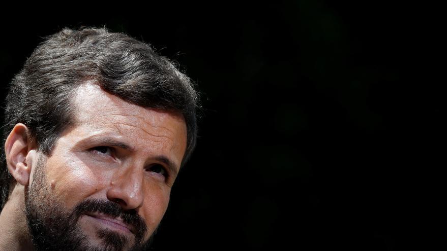 Pablo Casado en un mitin de la campaña en San Sebastián.