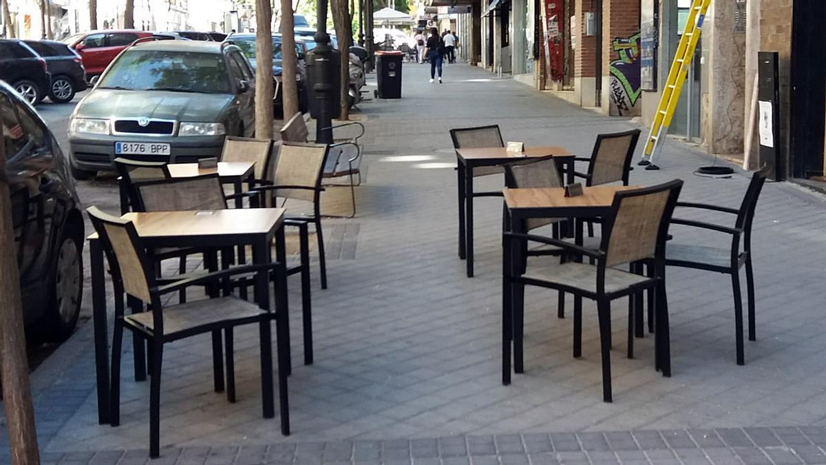 Terraza de hostelería en la calle Galileo, en Chamberí