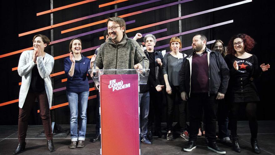 Xavier Domènech (En Comú Podem) da su primer discurso como ganador de las generales en Catalunya