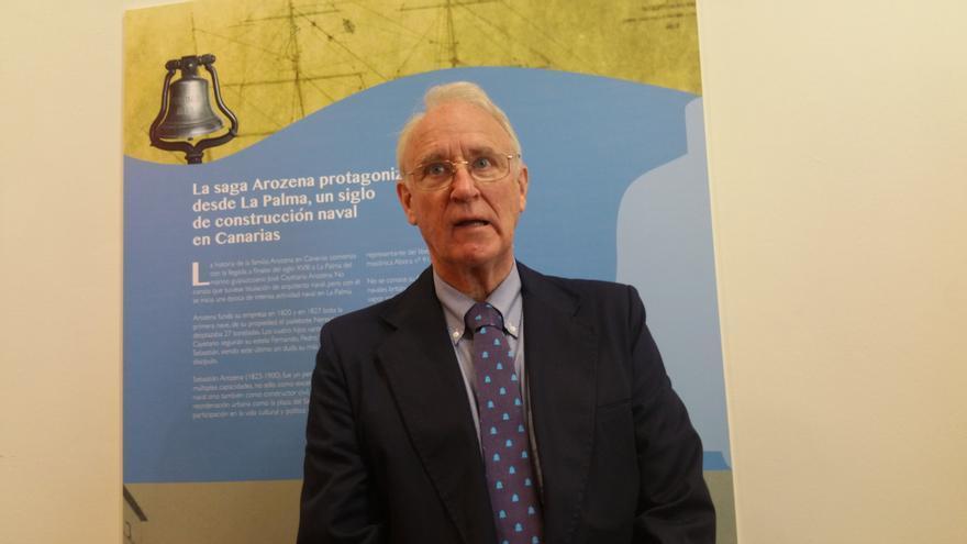 Thomas Cox este jueves en la inauguración de la exposición sobre el velero 'La Verdad'.