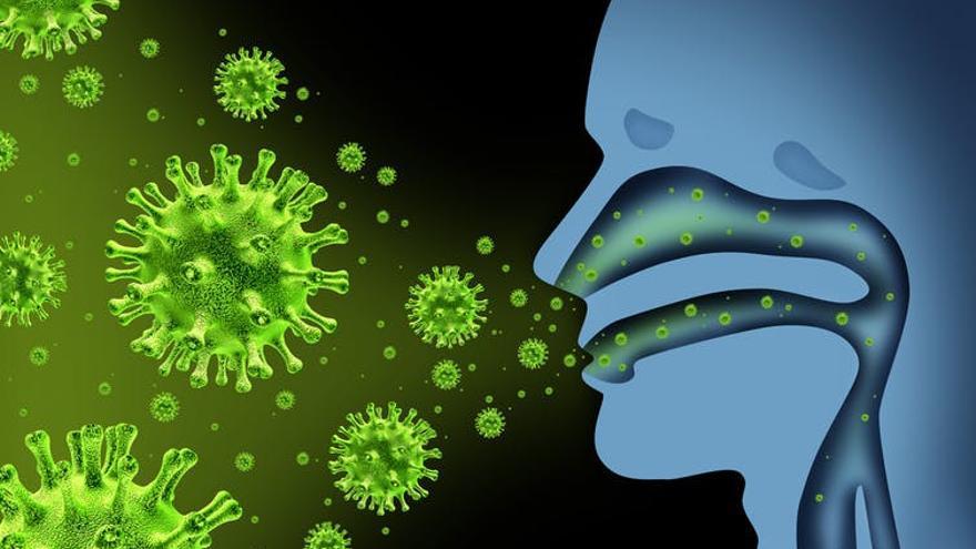 Ilustración de como se propaga el virus de la gripe en el cuerpo humano