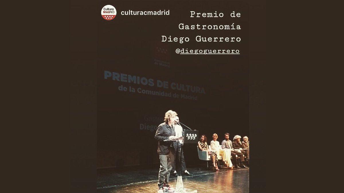 Diego Guerrero recoge su Premio Cultura de la Comunidad de Madrid en la categoría de Gastronomía | COMUNIDAD DE MADRID