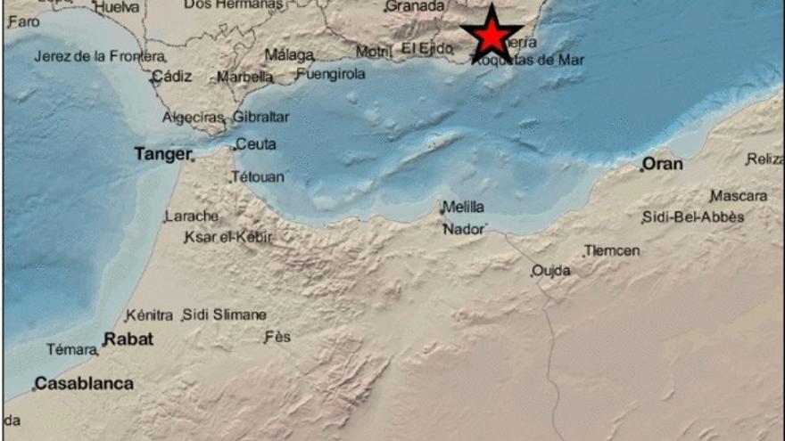 Epicentro del terremoto de Pechina (Almería)