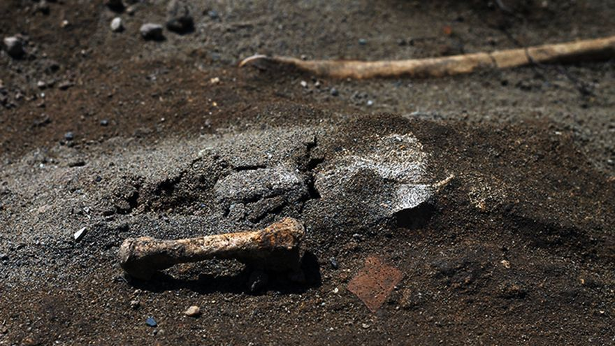 Huesos en las fosas comunes de Utrera (Sevilla). | JUAN MIGUEL BAQUERO