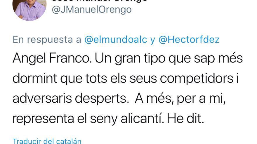El tuit de José Manuel Orengo dedicado a Ángel Franco