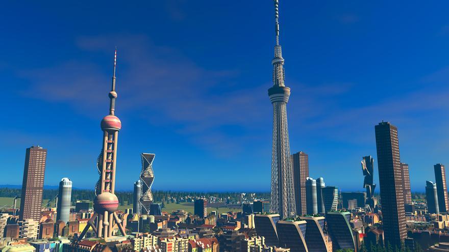 Skyline de una ciudad con edificios descargados del Workshop de Cities: Skylines