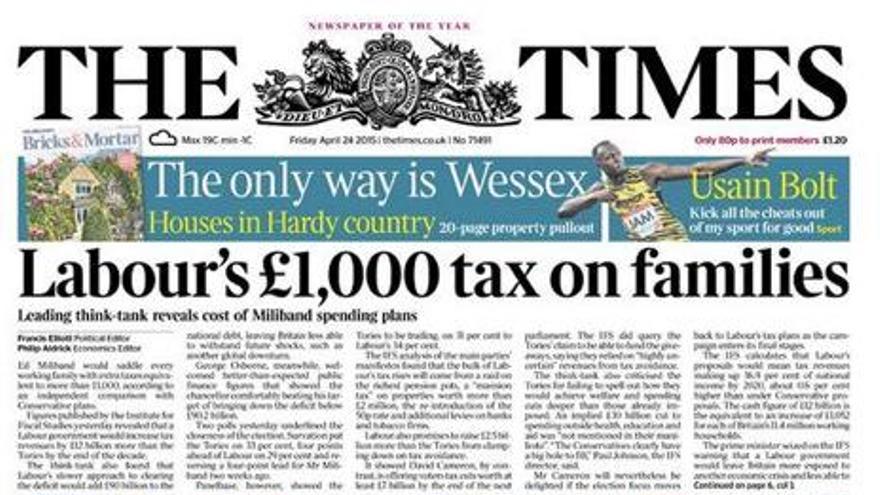 The Times con un titular tendencioso contra los laboristas que se vio obligado a rectificar