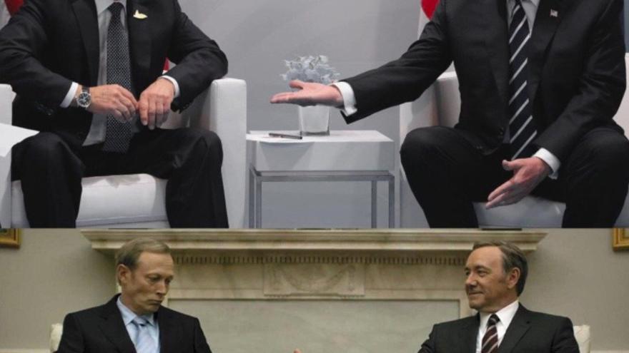 Vladimir Putin y Donald Trump en la imagen de arriba, Viktor Petrov y Frank Underwood debajo. @ASLuhn