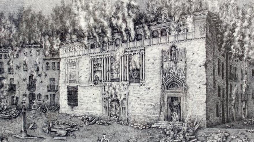 Grabado del antiguo hospital de Xàtiva en llamas durante el incendio de 1707