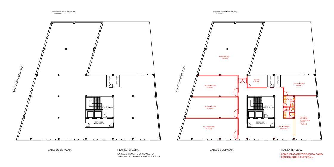 Propuesta para la tercera planta del edificio de San Bernardo 68 (pincha para ampliar)