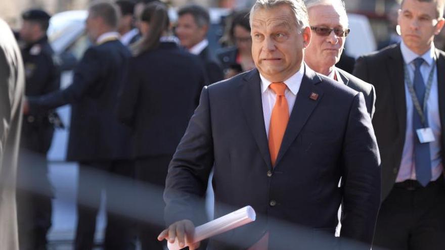 El primer ministro húngaro, Viktor Orban, a su llegada a la cumbre de jefes de Gobierno de la Unión Europea (UE).