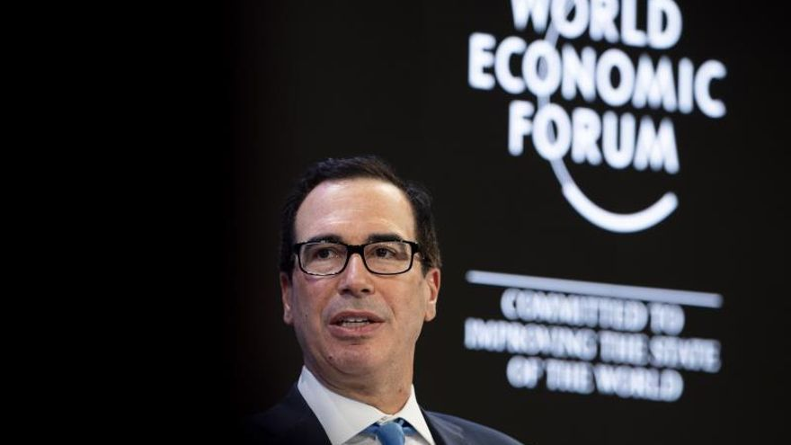 El secretario del Tesoro de Estados Unidos, Steven Mnuchin, el pasado martes en Davos (Suiza).