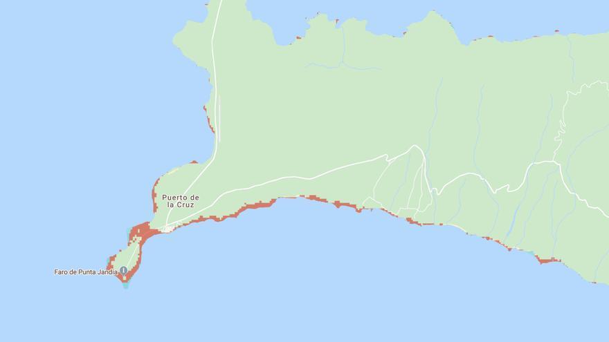 Mapa de los efectos de la subida del mar en el sur de Fuerteventura.