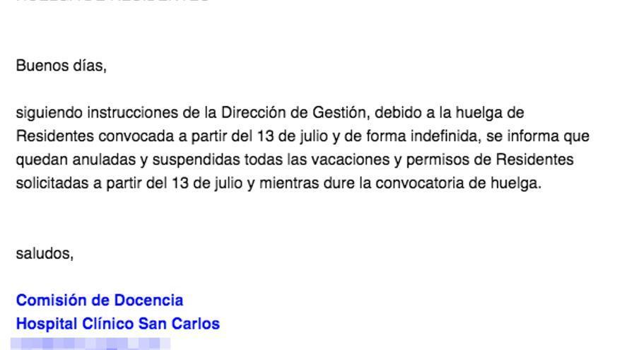 Correo de la Dirección de Gerencia del Hospital Clínico San Carlos ante el anuncio de huelga