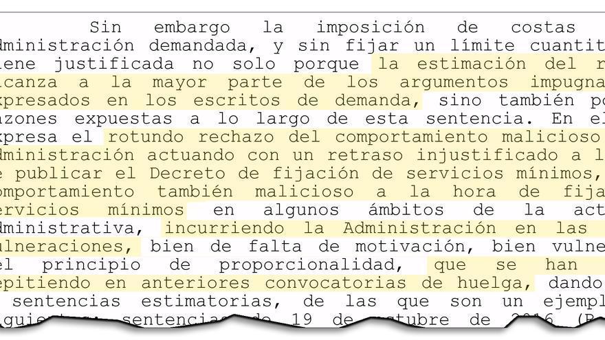 Fragmento de la sentencia del TSXG sobre los servicios mínimos de la huelga del 8M en la Xunta