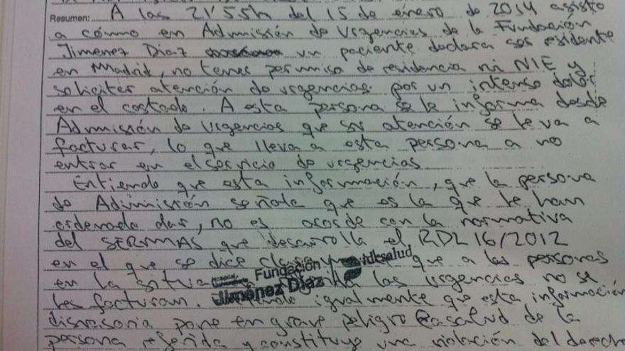 Reclamación de Pablo Meseguer por exigencia de pago en las urgencias del Hospital Universitario Fundación Jiménez Díaz