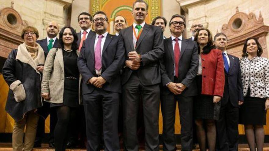 El grupo parlamentario de Vox en Andalucía, con 12 diputados, hasta la dimisión de la parlamentaria por Almería, Luz Belinda Rodríguez.