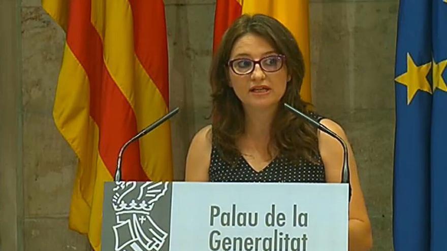 Mónica Oltra, este miércoles, en el Palau de la Generalitat.