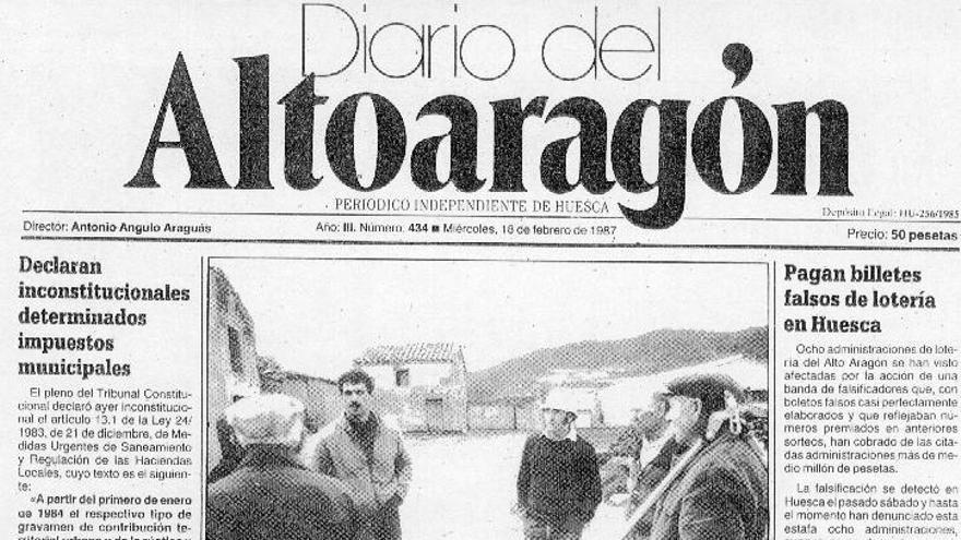 Portada del Diario del Altoaragon del 18 de febrero de 1987.