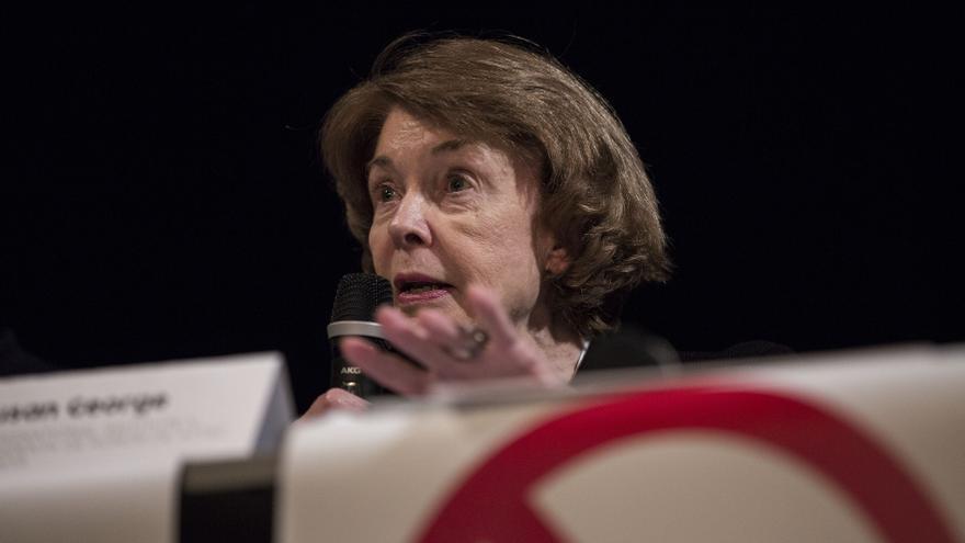 Susan George durante la presentación del Plan B en Madrid