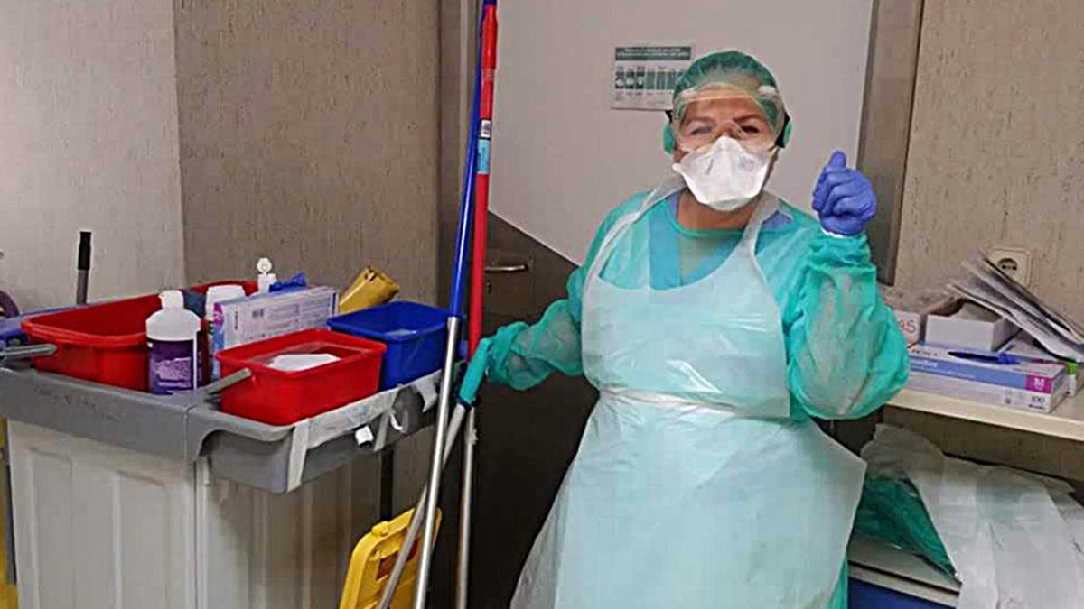 María Barragán, en el hospital trabajando