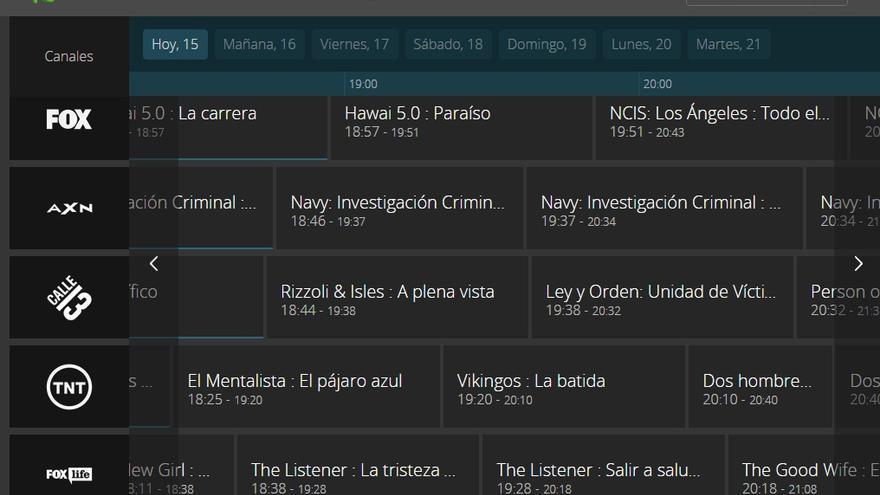 Programación de Movistar Tv