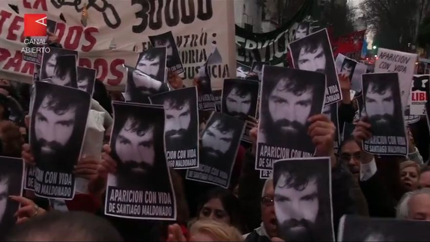 Marcha por la aparición de Santiago Maldonado (fuente: wikipedia)