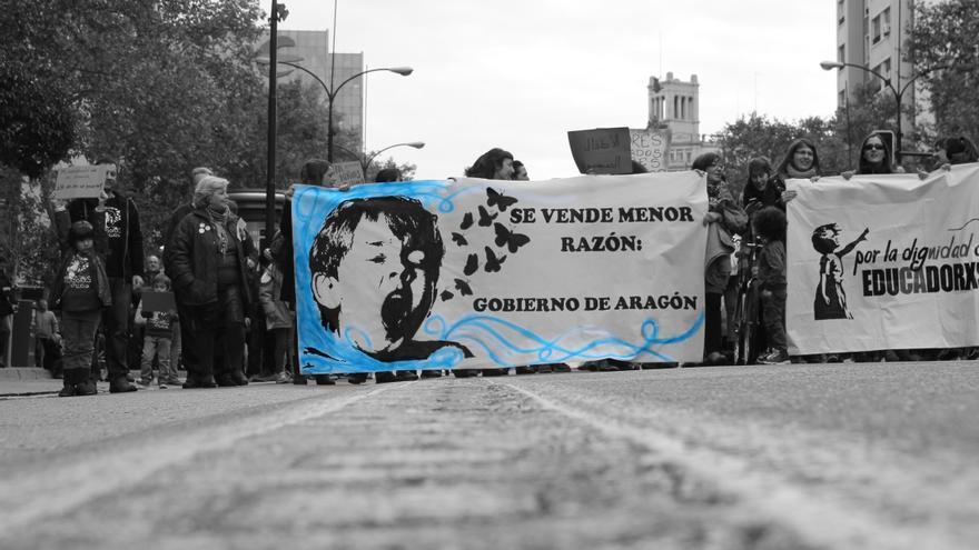 Manifestación de los educadores en su primer año de huelga.