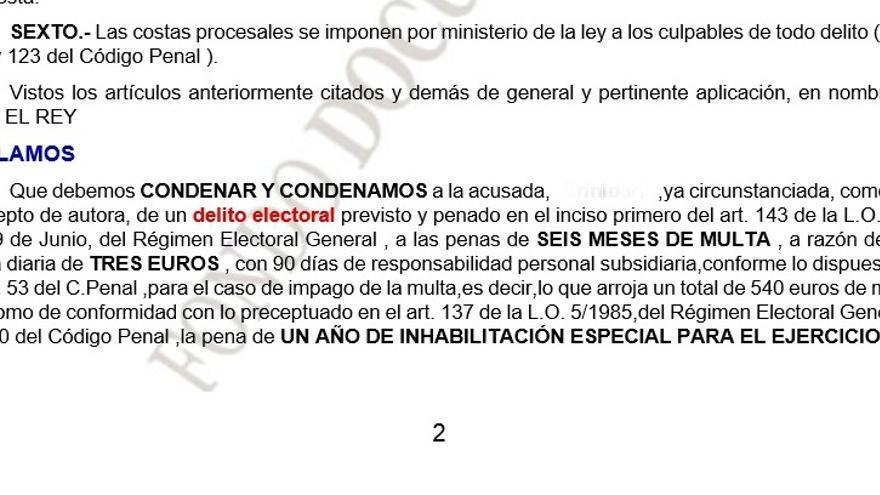 Sentencia condentaria contra Cristina por no acudir a una mesa electoral en las elecciones del 2011.