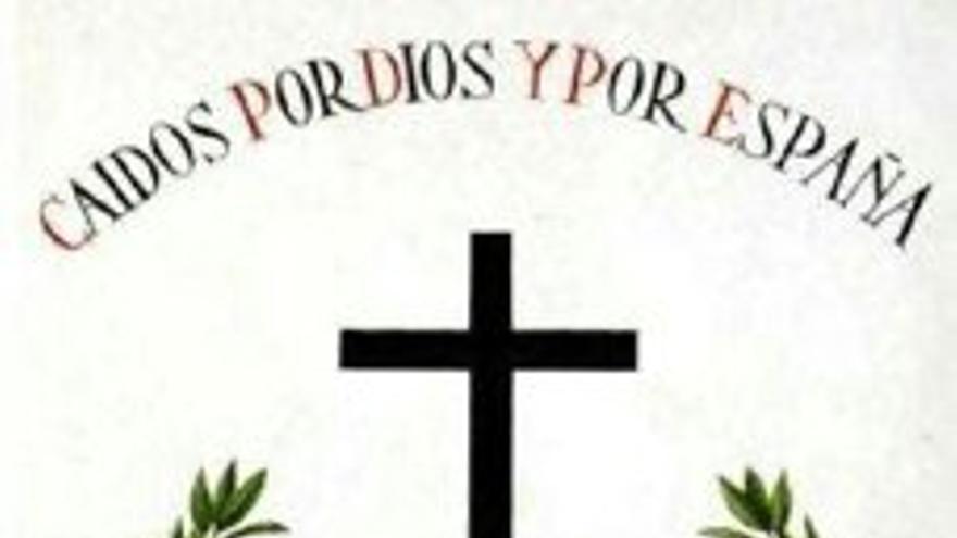 Anuncio de la homilía con el yugo y la flecha propios de la Falange.