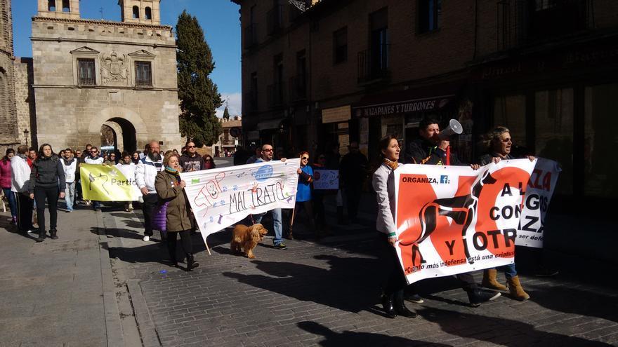 Manifestación en contra de la caza con galgos en Toledo