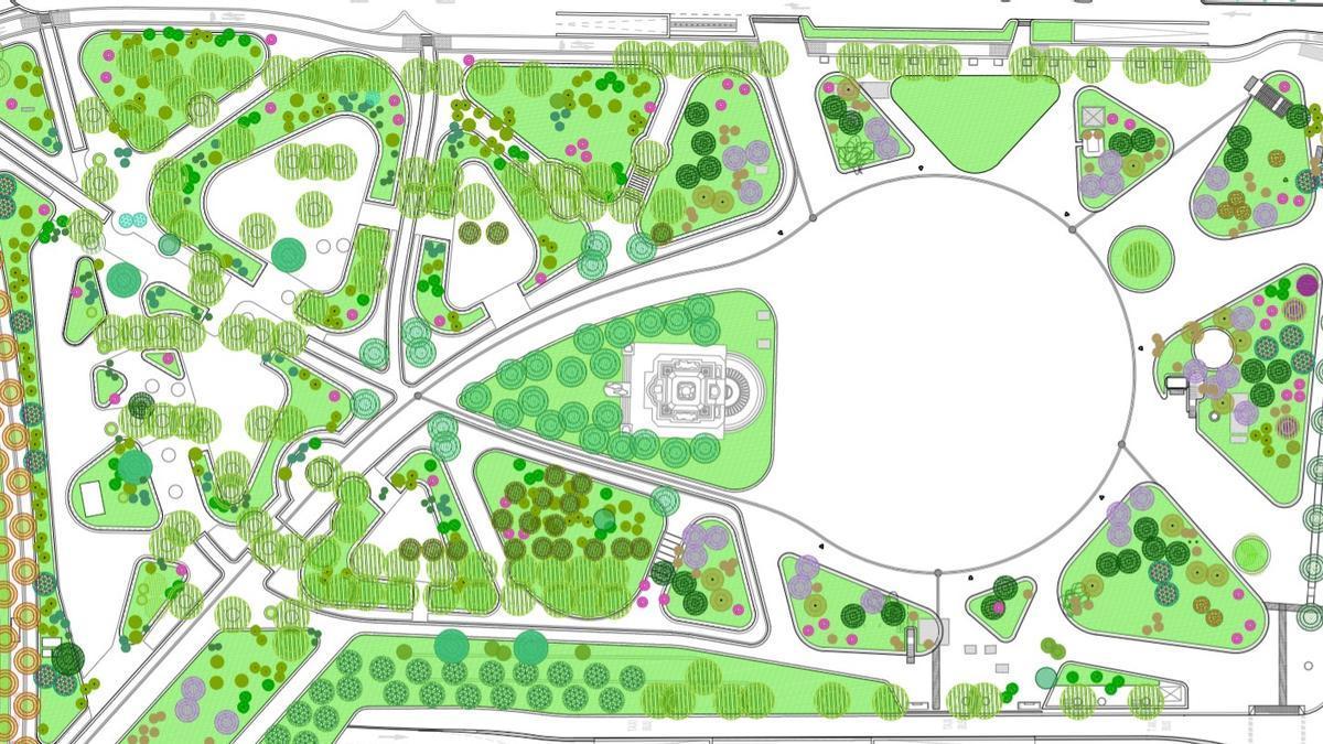 Vista del plano general del proyecto final para Plaza de España