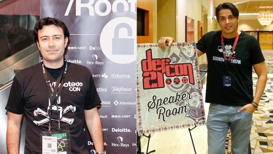 Pablo San Emeterio en la Rooted Con de 2012 y Jaime Sánchez en la DefCon de 2013