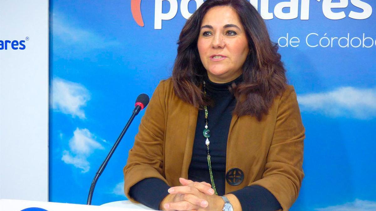 María de la O Redondo en la sede del PP.
