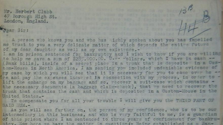 Carta de Vicente Olivier a Herbert Clubb