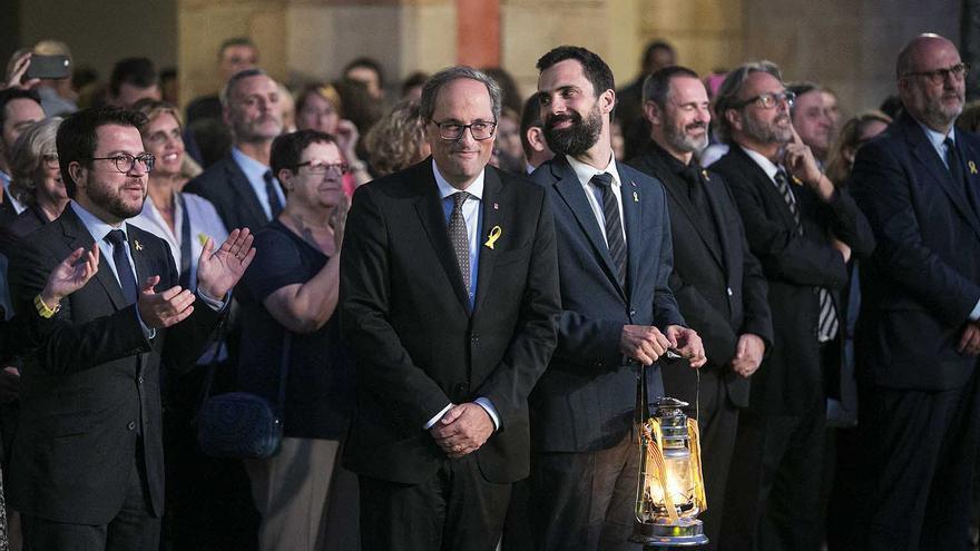 Los presidents del Govern y el Parlament en la marcha de la Diada celebrada este lunes