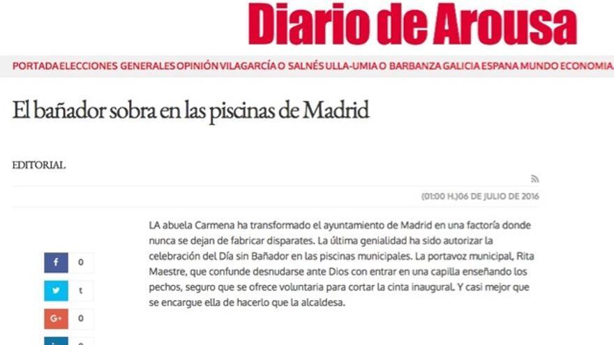 Editorial del Diario de Arousa, publicada este 6 de julio en sus ediciones impresa y digital