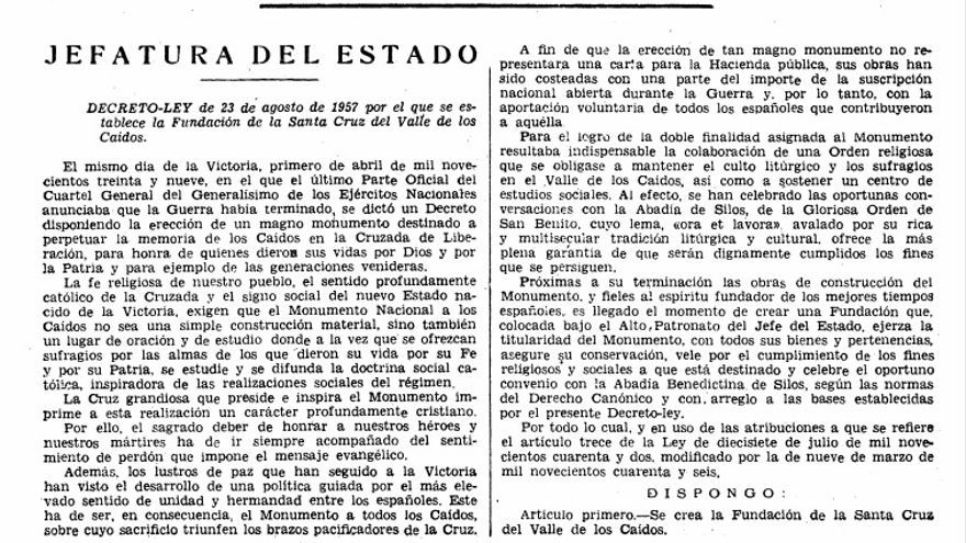 El decreto de fundación del Valle de los Caídos