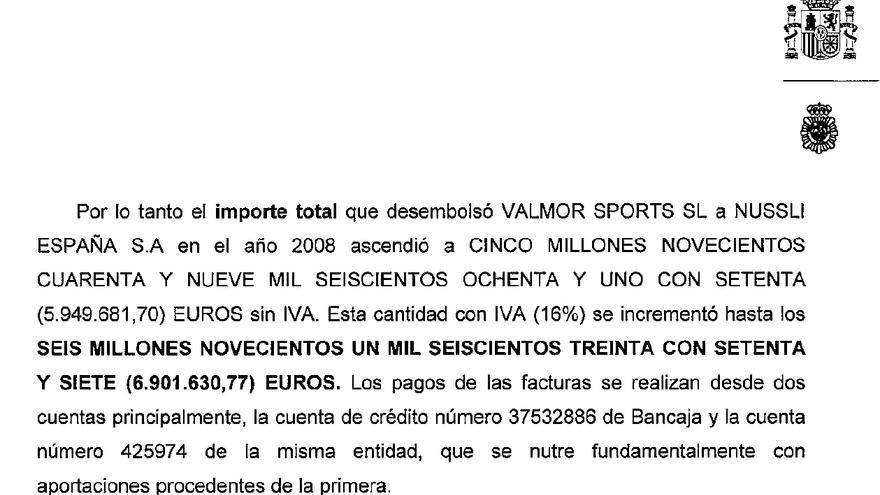 Parte del informe de la Udef en el que se explica el sobrecoste en el montaje de las gradas en 2008.