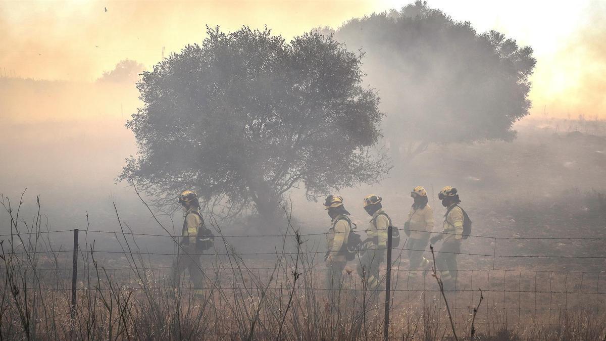 Miembros del Infoca realizan labores de extinción del incendio forestal que se ha iniciado esta tarde en Villarrasa y avanza hacia la provincia de Sevilla