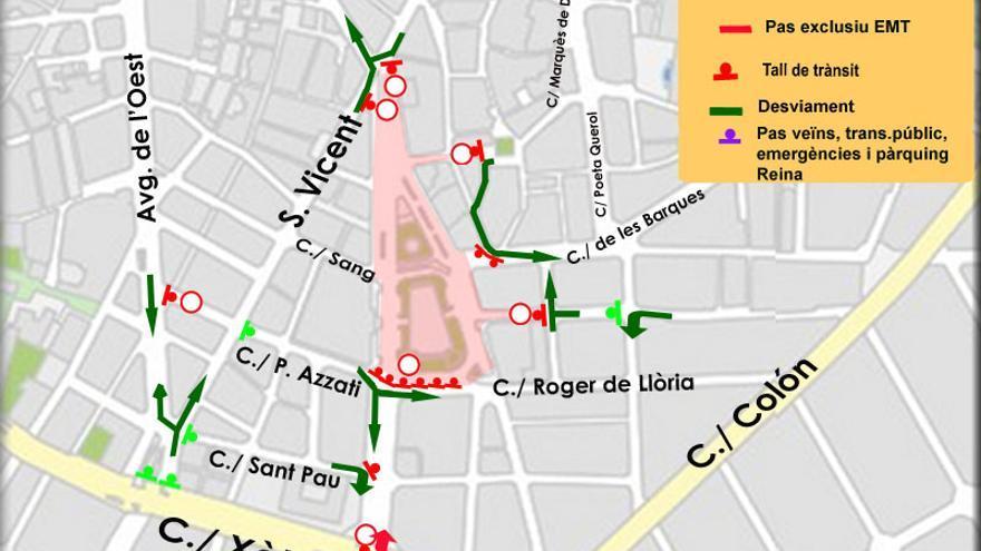 Así quedará el tráfico en el entorno de la plaza del Ayuntamiento