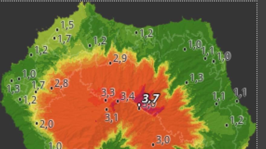 Mapa de HD Meteo La Palma donde se indica el Índice Meteorológico de Peligro de Incendio, a las 16.10 horas de este  domingo, en distintos puntos de La Palma.
