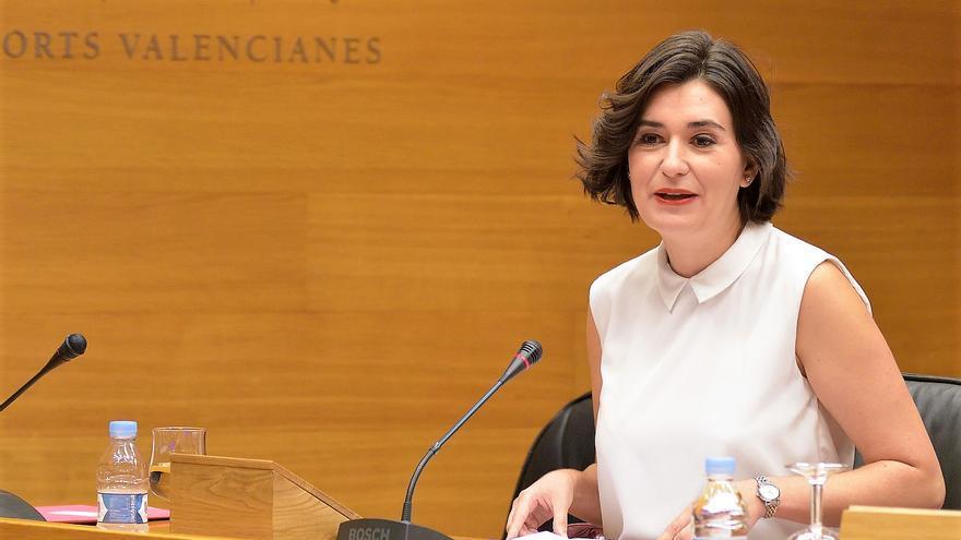 La consellera de Sanidad, Carmen Montón, durante su comparecencia en las Corts