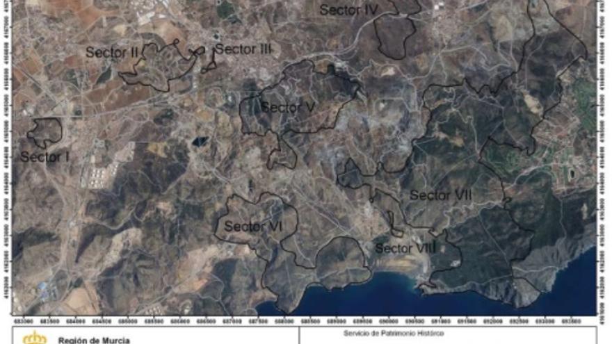 Vertiente Sur de la Sierra Minera, con las pedanías de Portmán y Alumbres