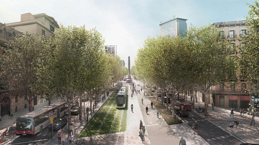 Plano del tranvía por la Diagonal de Barcelona